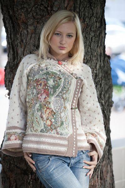 sweter kombinowany