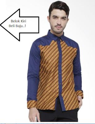model baju batik pria lengan panjang kombinasi kain polos
