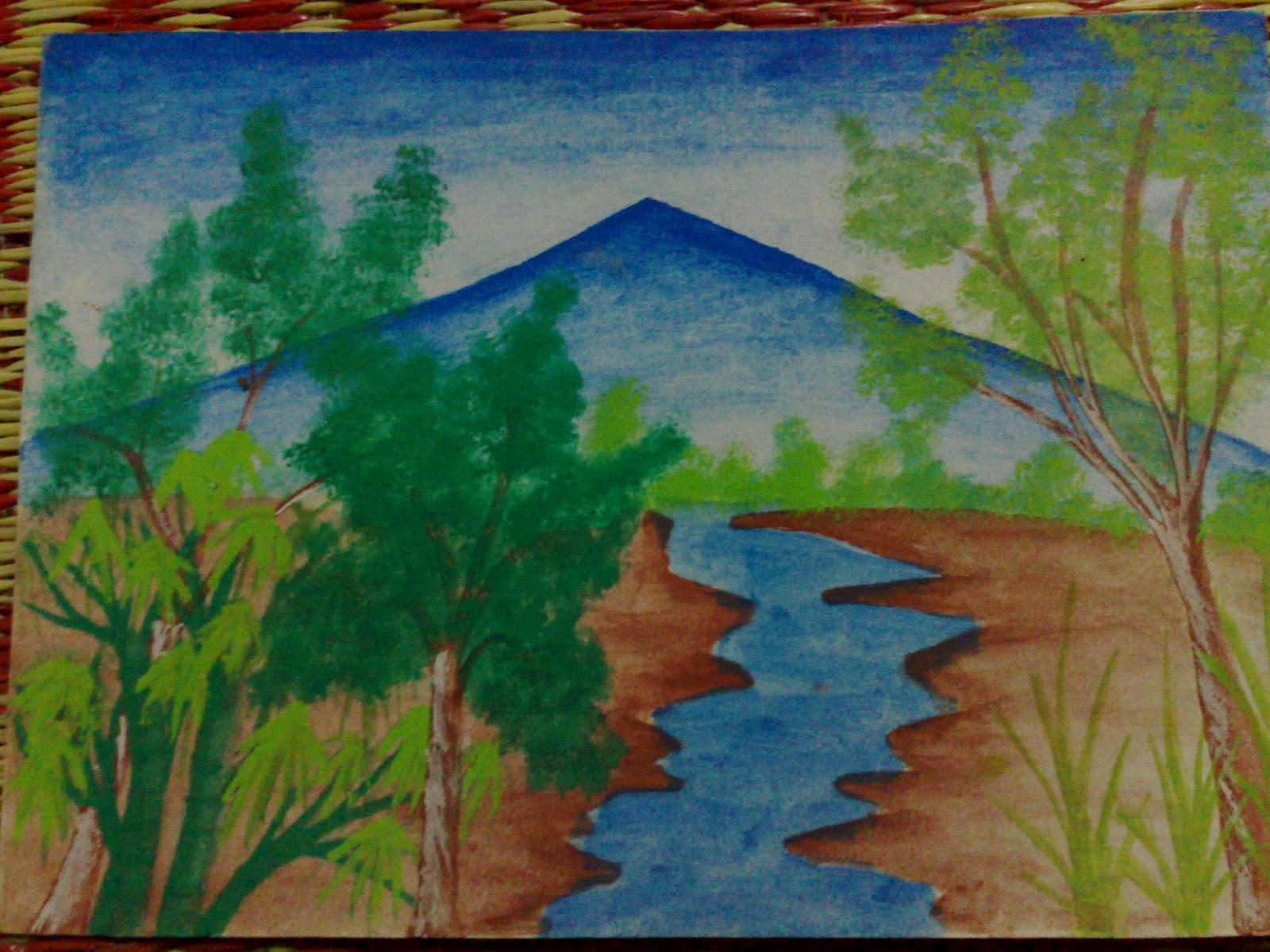 Lukisan Pemandangan Alam Anak Sd Bliblinews Ratnachochochieps Contoh Gambar