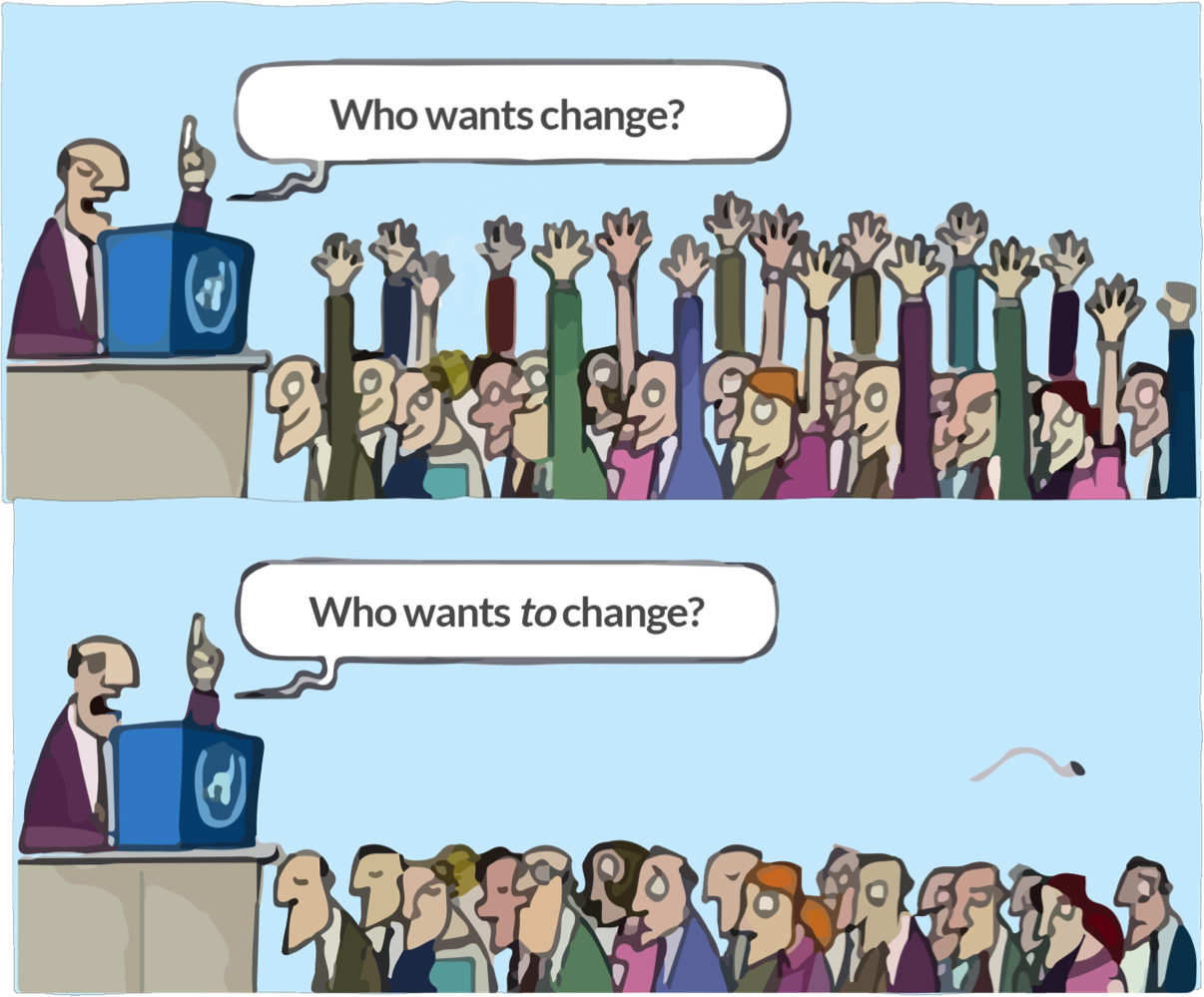 A crowd wanting to change, but unwilling to change themselves.
