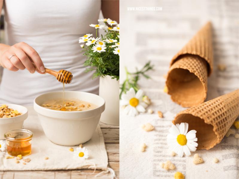 Kamilleneis mit Honig und Knuspermuesli