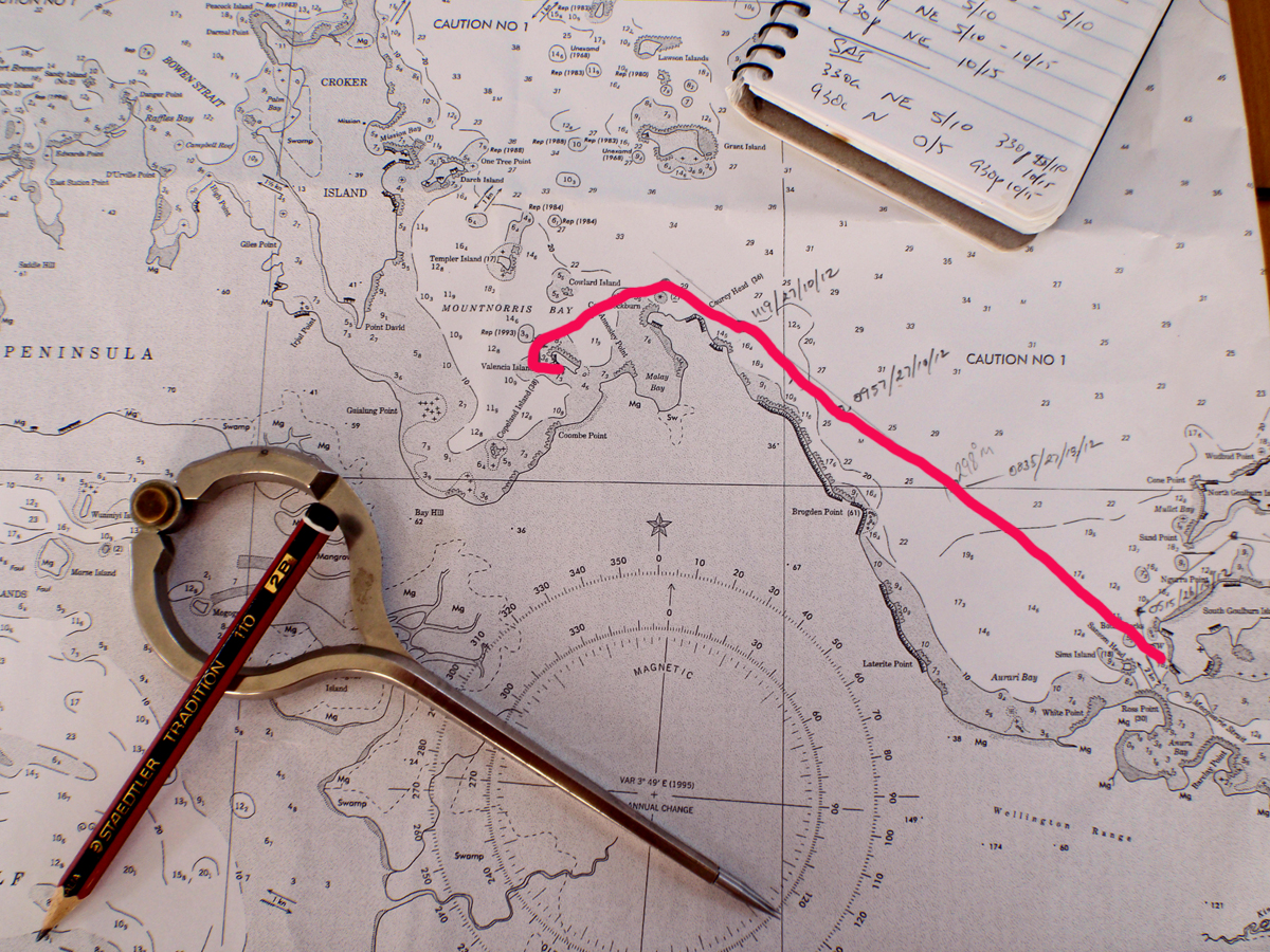 Sailing aussie coast south goulburn island to valentia island chart showing tack from south goulburn to valentia island geenschuldenfo Images