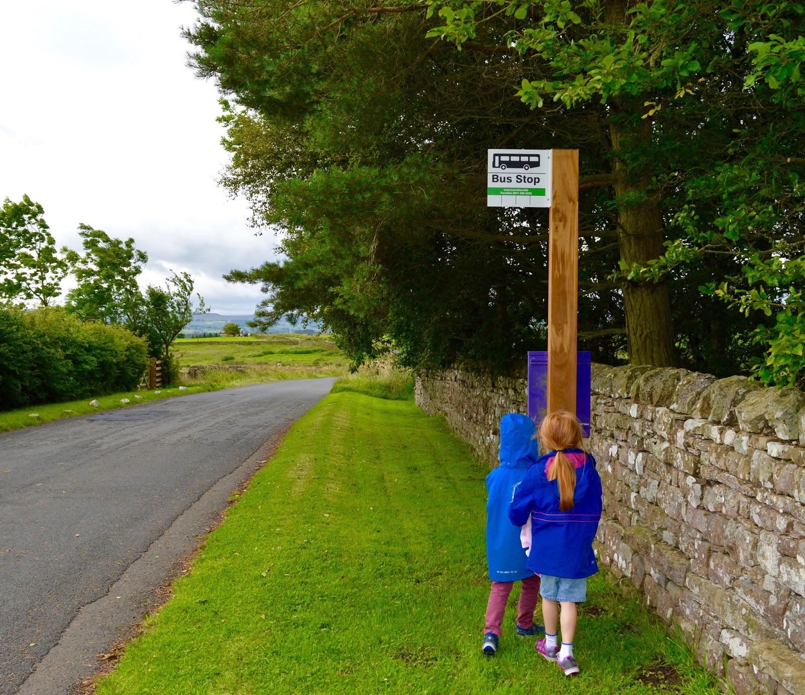 Exploring Hadrian's Wall by Bus with Go North East AD122 - bus stop