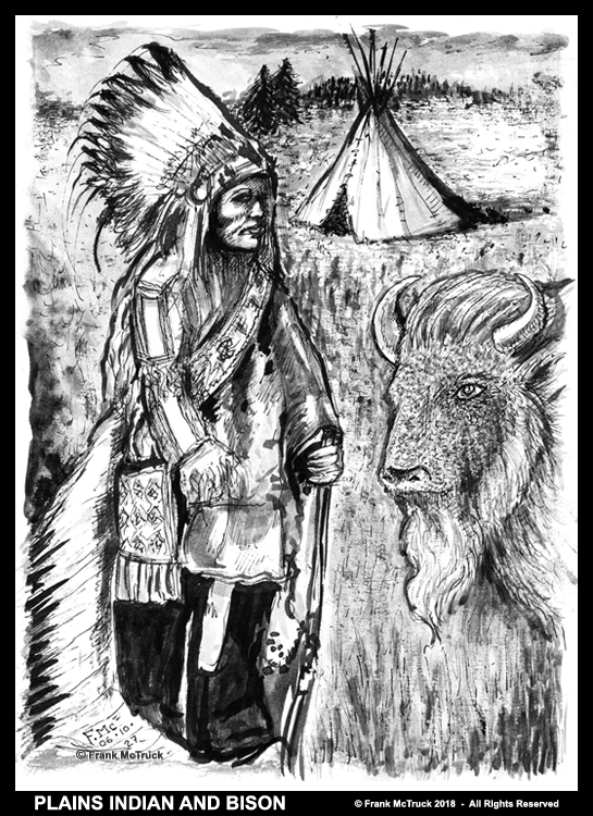 Frank McTruck ink wash art - 'Plains Indian and Bison' (2006)