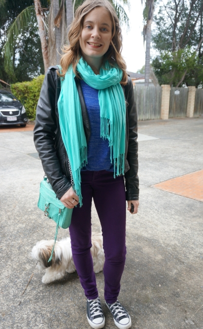 Away From Blue | Colourful Winter Outfit turquoise accessories blue jumper purple skinny jeans