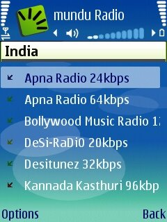 Screenshot showing online radio on symbian smartphone