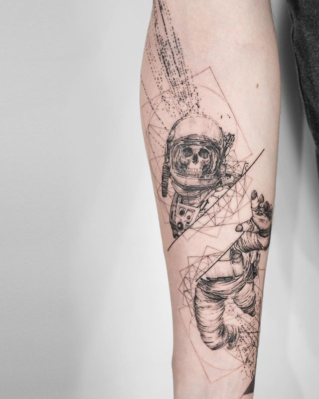 skeleton astronaut tattoo