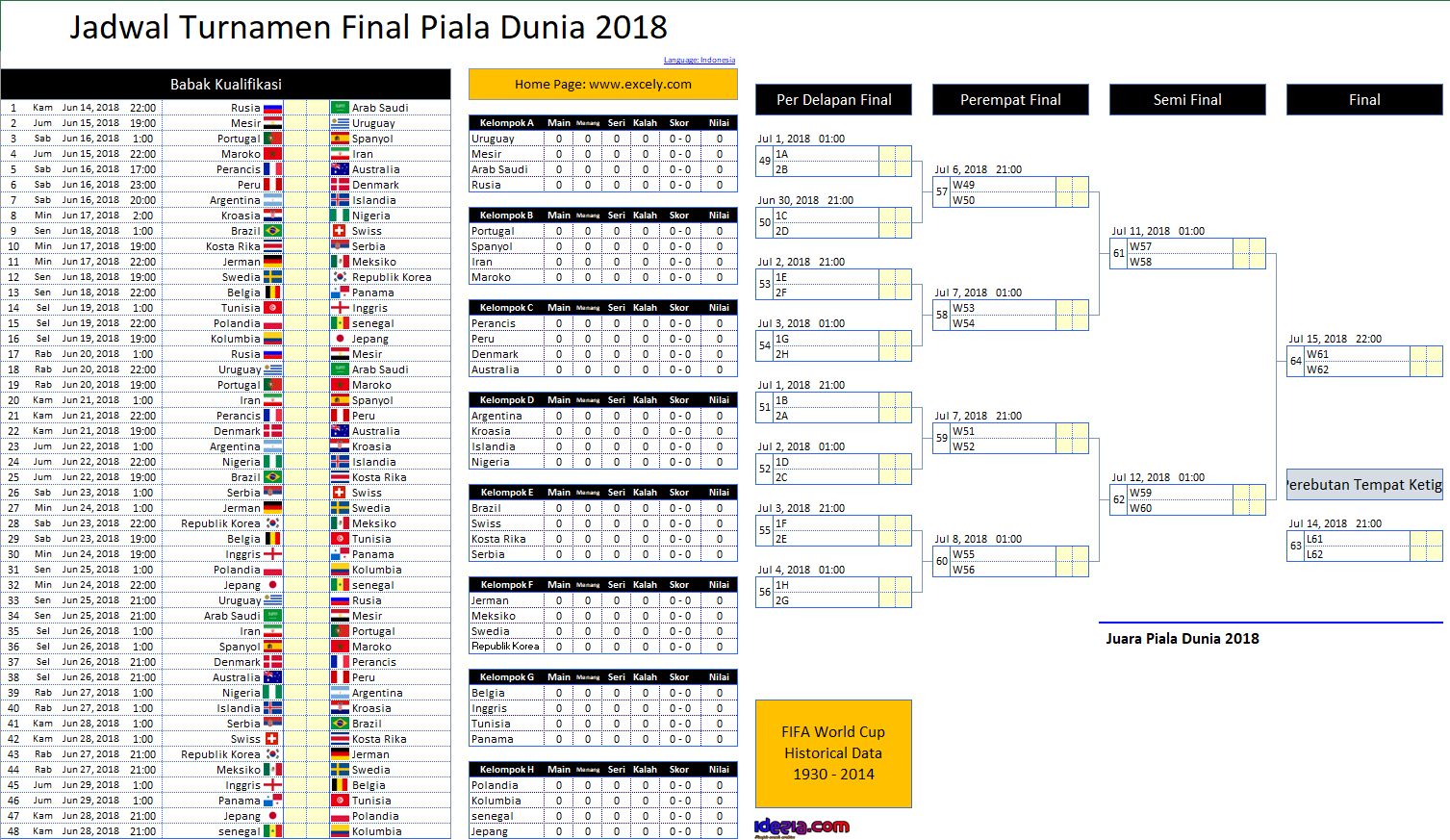 Download Jadwal Piala Dunia FIFA 2018 Rusia Excel .XLS World Cup Schedule