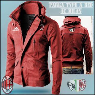 Jaket Hoodie Distro Bola Parka AC Milan Red
