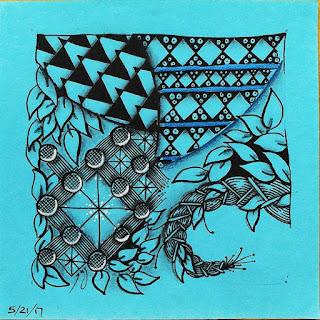 Zentangle Refresher #27 with Patterns: Pokeleaf, Wigwam, Brayd, Dutch Hourglass, Longwood