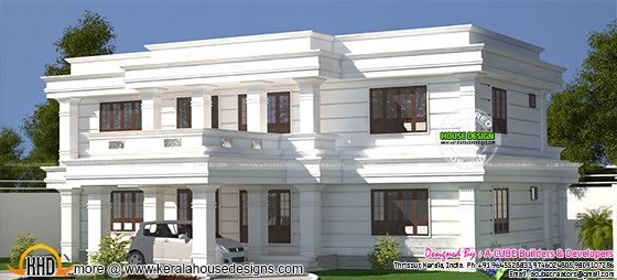White decorative flat roof home