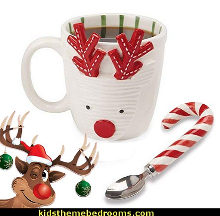 Reindeer Mug & Candy Cane Spoon   christmas kitchen decorations - Christmas table ware - Christmas mugs  - Christmas table decorations - Christmas glass ware - Holiday decor - Christmas dining - christmas entertaining - Christmas Tablecloth - decorating for Christmas - Santa mugs - Christmas Cookie Cutters  - snowman and reindeer kitchen  accessories - red cardinal kitchen decor - seasonal dinnerware