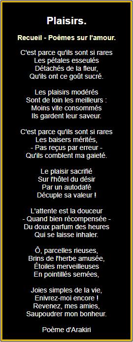 Poème sur les plaisirs
