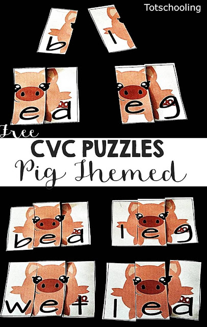 FREE CVC word puzzles for kindergarten kids learning to read CVC words. Features a pig theme that is perfect for a farm unit.