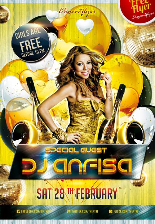 Special Guest Dj Anfisa Free Flyer Psd Template Download Free
