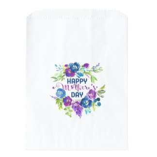 Gift Wrapping for Mom - Happy Mother's Day Blue Purple Bouquet Favor Bag