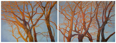 Reaching Through by Katherine Kean oil on linen diptych trees branches birds