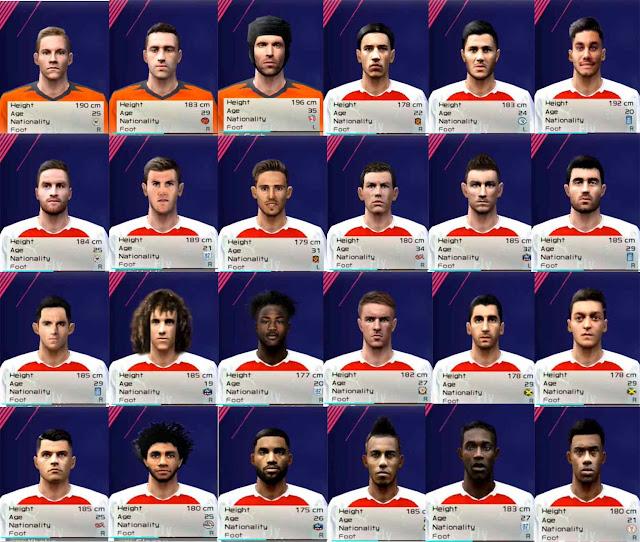 Pes 2017 Lucas Torreira Face By Sameh Momen: Ultigamerz: PES 6 Arsenal Full Face-Pack 2018-19