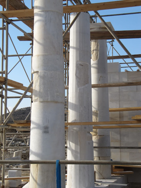 New-meets-old marble columns ready for finishing smooth at Despotiko's Apollo Sanctuary