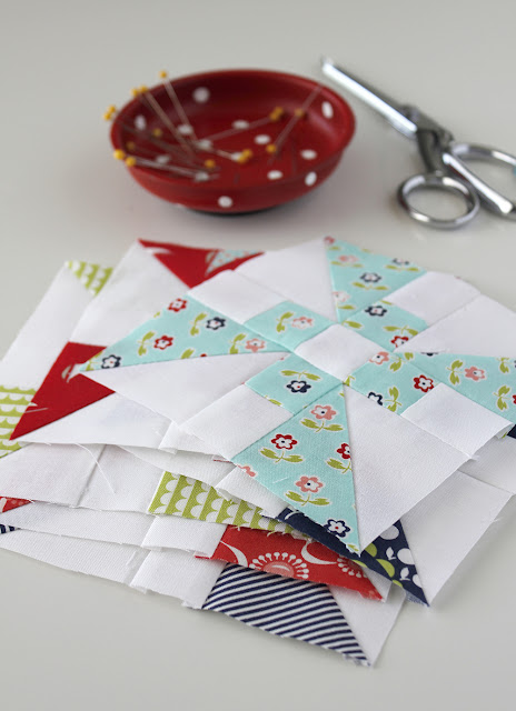 Propeller quilt block from the Patchwork Quilt Along with the Fat Quarter Shop