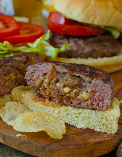 Bacon & Blue Cheese Stuffed Burgers