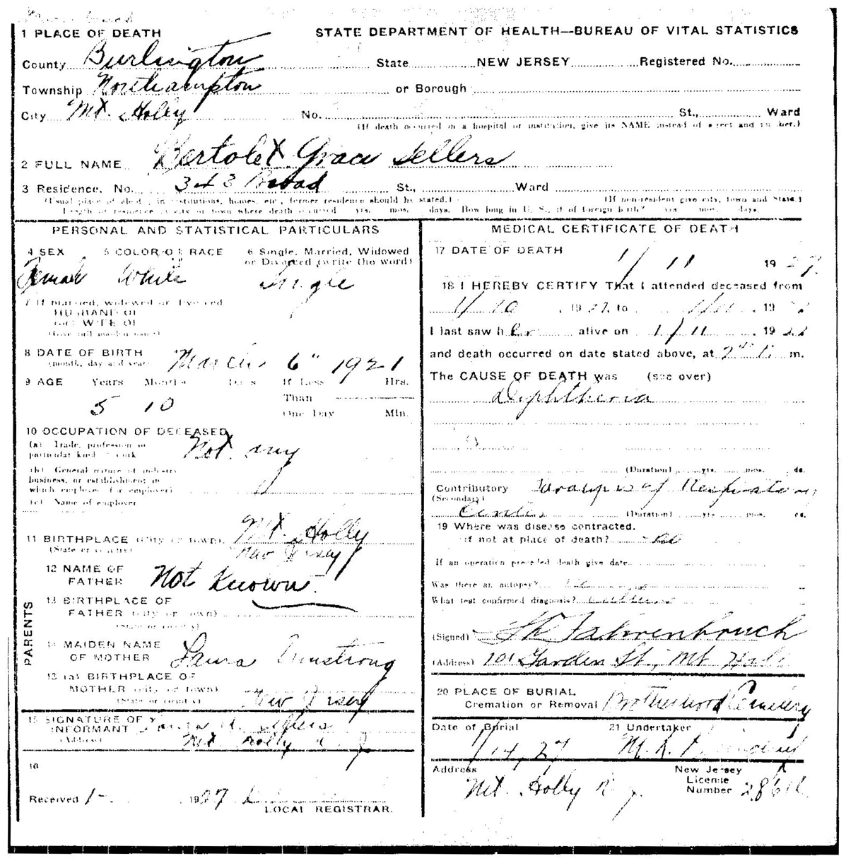 Ancestral discoveries july 2016 bertolet grace sellers death certificate january 11 1927 father not known xflitez Image collections
