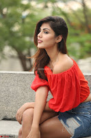 Rhea Chakraborty in Red Crop Top and Denim Shorts Spicy Pics ~  Exclusive 281.JPG