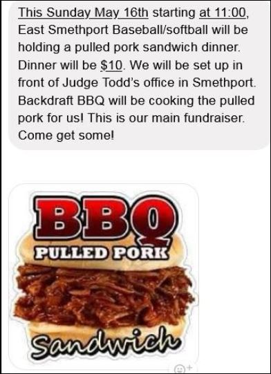 5-16 Pork BBQ in Smethport