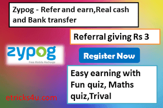 Loot Zypog website – Signup balance Rs 10+Refer giving Rs 3+