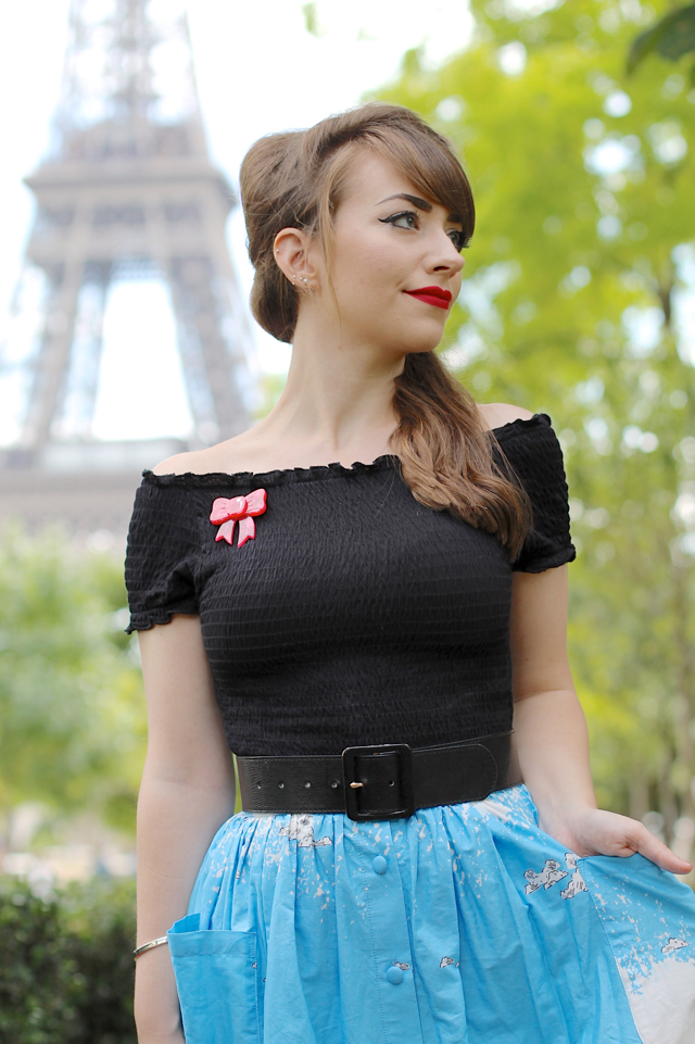 Lindybop Adalene border print midi skirt in Paris
