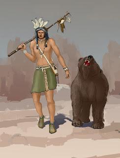 Native American and bear