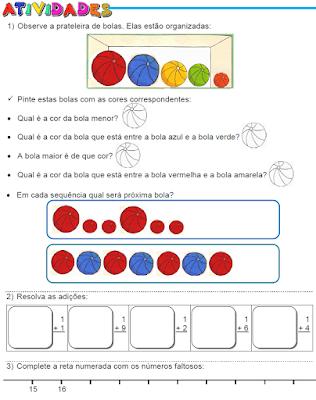 Cores e tamanho, Adições e Reta numérica
