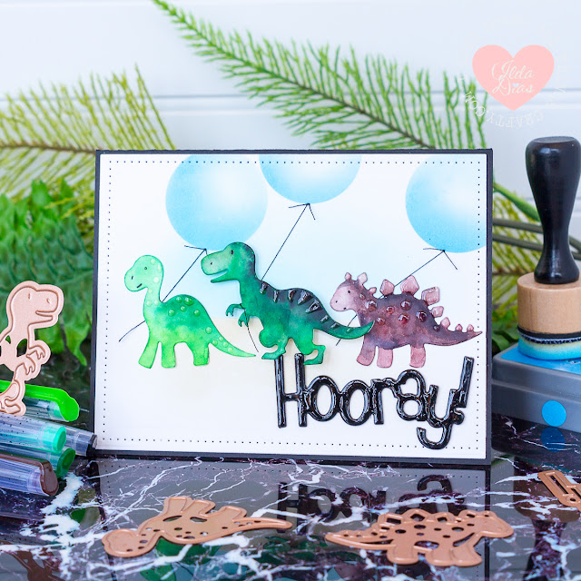 Dinosaur Party Card ft. Spellbinder's Dinosaur Etched Dies by ilovedoingallthigscrafty