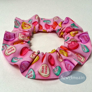 Puppy Love Valentine Candy Conversation Hearts Scrunchie Ruffle