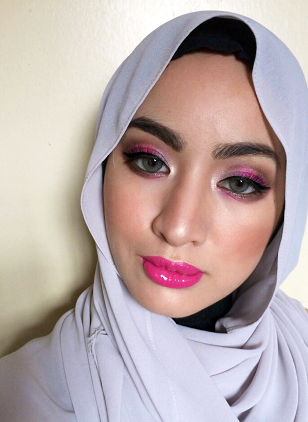 Drugstore Makeup Challenge, Purple & Pink, Makeup Looks, Shahida MUA, Glam Makeup Look, Hijabista