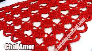 Chal de corazones a Crochet / Tutorial en Español