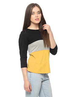 womens casual round neck mixed colour tee shirt