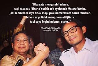 Prabowo-Sandiaga Capres-Cawapres Pilihan Ulama dan Ormas Islam.