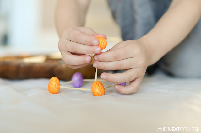 Easter STEM activity for kids - building with foam eggs & toothpicks from And Next Comes L