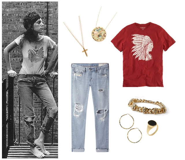 Patti Smith distressed jeans and shirt style