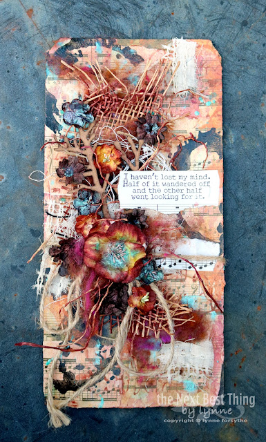 Altered Tag by Lynne Forsythe for UmWowStudio using Tattered Angels, ArtFoamies, Impression Obsession and Canvas Corp Brand products
