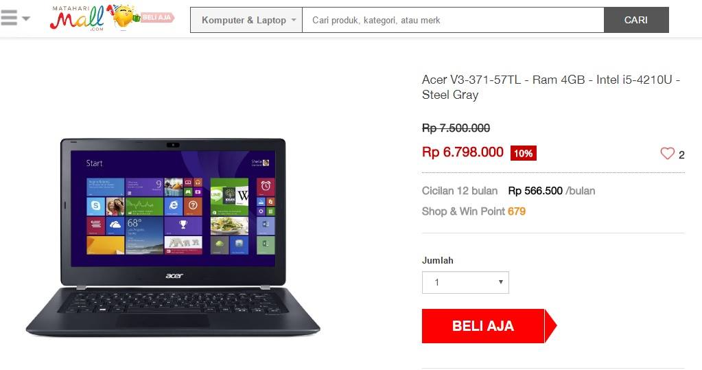 harga laptop Acer MatahariMall