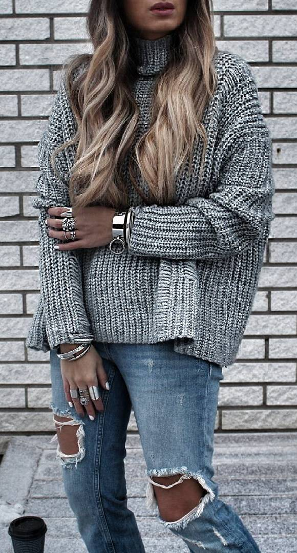 street style addict: knit + ripped jeans