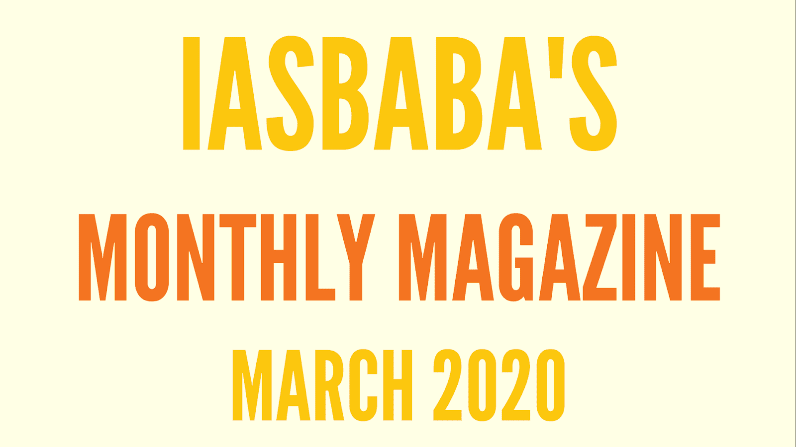 iasbaba Current Affairs March 2020