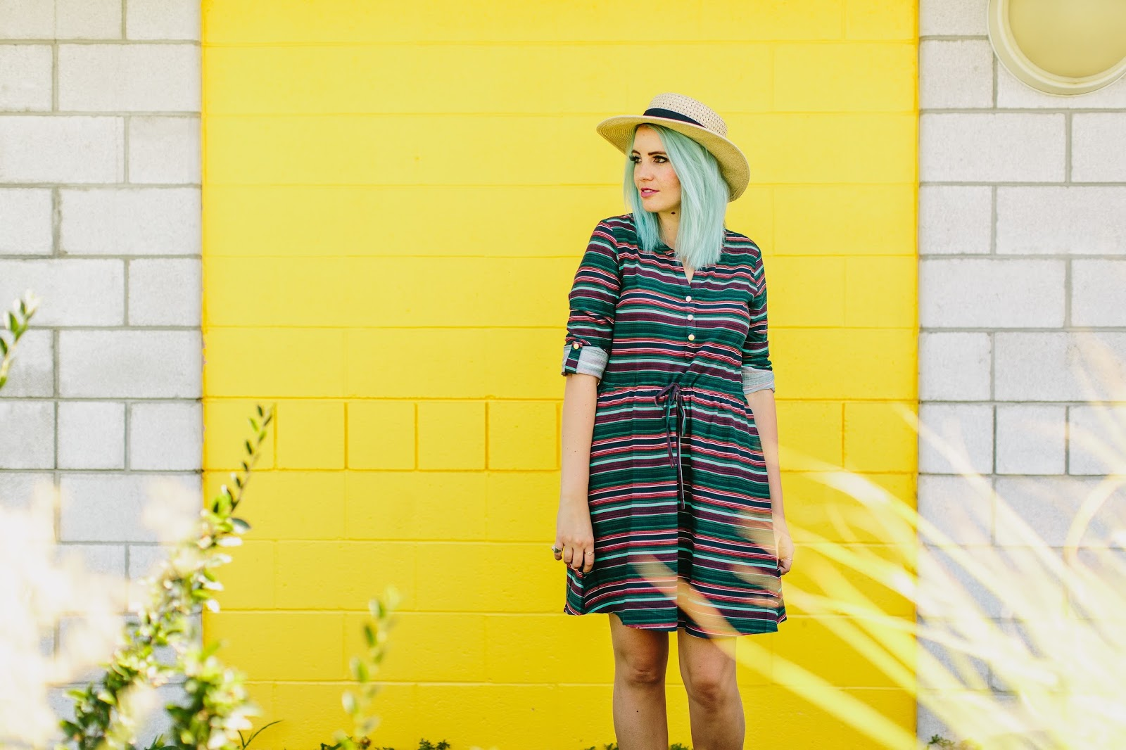 Blue hair, Fall Transitioning Outfit, Stripes