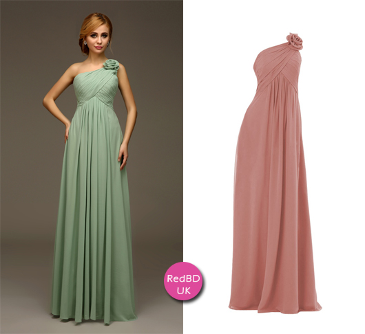 Chiffon One-shoulder with 3D Flower Asymmetrical Ruched Bodice Empire Bridesmaid Dress