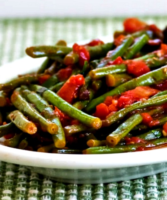 Braised Green Beans with Garlic, Tomatoes, Olives, and Capers  found on KalynsKitchen.com