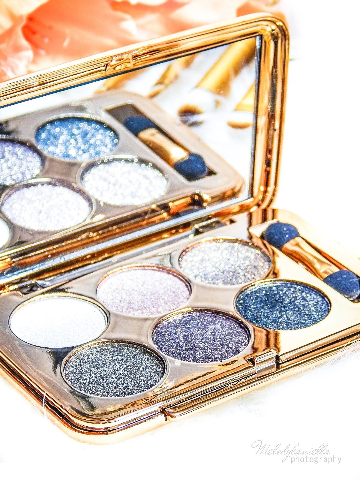 7 azjatyckie chińskie kosmetyki recenzja melodylaniella beauty paleta 6 cieni brokatowe cienie do powiek sammydress cienie do powiek ze złotem i brokatem karnawałowy makeup