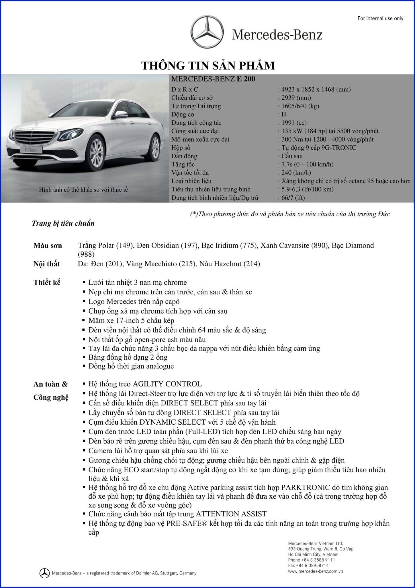 Bảng thông số kỹ thuật Mercedes E200 2018 tại Mercedes Trường Chinh