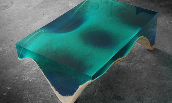 desain unik meja epoxy resin